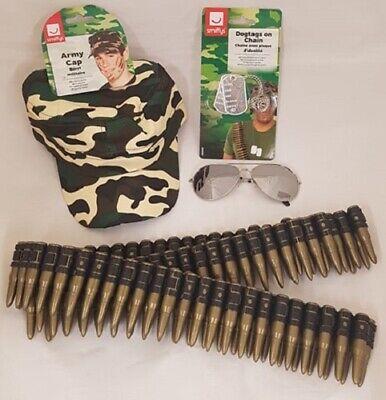 Armee Kostüm Set Hut Hundemarken Kugel Gürtel Brillen Neu