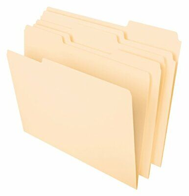 100 Ct File Folders Manila 13 Cut Assorted Top Tab Letter Size Office Supplies