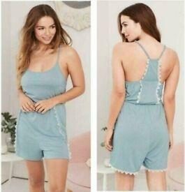 AVON Ladies Womens Lace Trim Playsuit Nightwear PJs Pyjama, Blue, UK 6 8 10 12 FREE PP £15