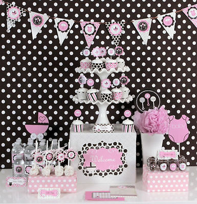 Pink Baby Shower Theme Mod Party Decorations Kit  - Pink Themed Party Decorations