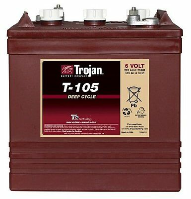 Trojan T-105 6 Volt Golf Cart Battery battery RV marine solar deep cycle Marine Deep Cycle