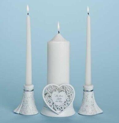 White Unity Candle Holder (Unity Candle Holder Set with)
