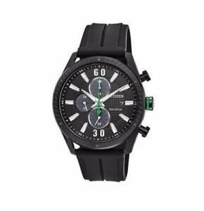 Citizen Mens Black Dial Chronograph CA0665-00E Eco Drive Rubber Band Watch