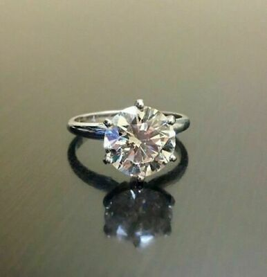 3ct round cut moissanite diamond solitaire engagement