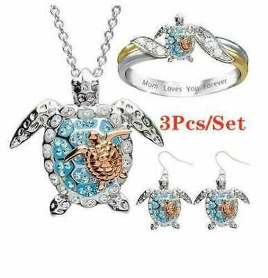 3 Pc/Set Sea Turtle Jewelry Set Mother Baby Necklace Ring Earrings Size 10