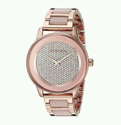 Michael Kors Ladies Kinley Rose Gold Glitz Dial Blush Resin Watch MK6432