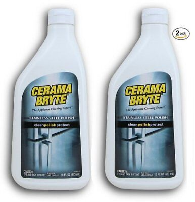 Cerama Bryte Stainless Steel Cleaning Polish (with Mineral Oil), 2 Pack 16oz