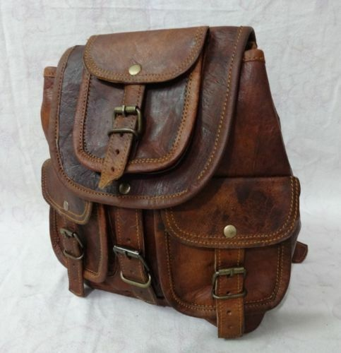 New S TO L Genuine Leather Back Pack Rucksack Travel Bag For
