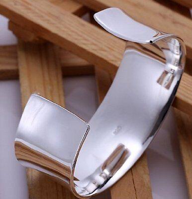 Elegant 925 Sterling Silver Wide Cuff Bangle Bracelet High Polish Finish
