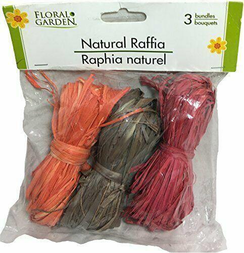 Floral Garden Natural Raffia 3-Bundles Of Autumn Colors