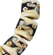 Black and White Lampwork Beads