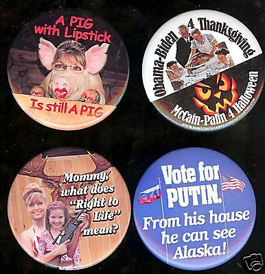 old ANTI Sarah PALIN pin HALLOWEEN ONE-ONLY 1 pinback (Sarah Palin Halloween)