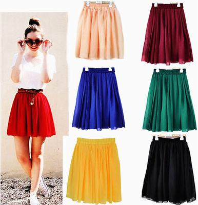 Pleated Chiffon Mini Skirt - 2018 Women Chiffon Short Mini Skirt Girls Pleated Retro Elastic Waist Skirts