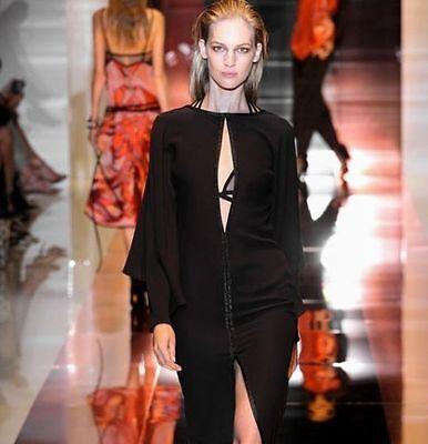 GUCCI BLACK DRESS SILK CAPE LONG SLEEVE OPEN V-NECK LINE Sz42 Runway $2,650 NWT