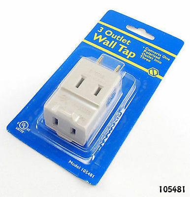 3 Outlet 2-Prong Polarized AC Power Wall Tap, UL-Listed
