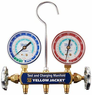 Yellow Jacket 41312 Manifold Only With 2-12 Steel Case Gauges Psi R-134a40...