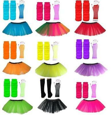 80s Fancy Dress Set Tutu Mesh Gloves & Leg Warmers Race for Life Neon/Bright