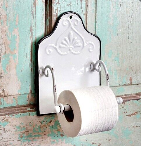 New French Country Farmhouse Shabby Chic WHITE ENAMEL TOILET PAPER HOLDER Wall