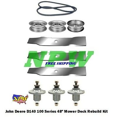 "John Deere LA145 100 Series 48"" Lawn Mower Deck Parts Rebuild Kit FREE SHIPPING"