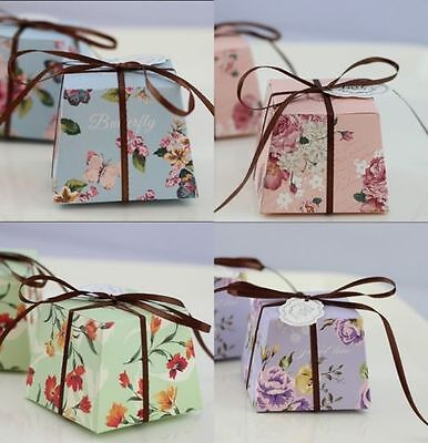 50 pcs Floral Trapezoid Candy Box Gift Boxes Wedding Party Favors With Ribbons