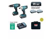 Makita 18V Li-ion Combi Drill & Impact Driver Twin Pack incl 2 Batteries! *NEW