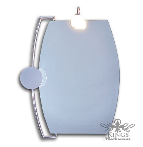 minima bowed bathroom mirror with light and magnifying mirror