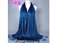 Plain Shiny shimmer Glitter Sparkly Scarf Shawl Wrap for parties et