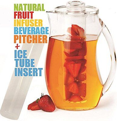 Infused Water Pitcher Acrylic Fruit Infusion Drink Iced Natural Juice Ice Core