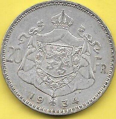 20 Francs  argent Albert I 1934 FL  Pos B