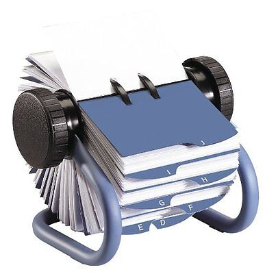 Rolodex Blue Rotary Business Card File With 200 Card Sleeves And 24 Guides 63299