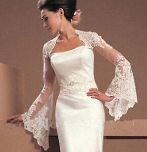 Fashion Lace Ivory Bolero Jackets Long Sleeve Bridal Shawls for Wedding Size M