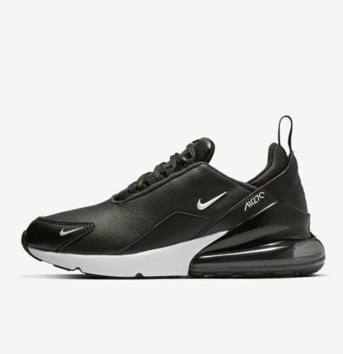 online retailer faf7e dd36c Nike Air Max 270 Premium Leather BQ6171-001 Black White Men's Running Shoes  NIB