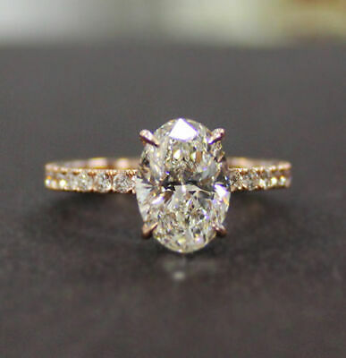 New 2.05 Ct Oval Cut Diamond Engagement Ring U-Setting G, VS1 GIA Platinum 6