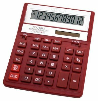 Citizen SDC-888XRD Office Solar / Battery Dual-Powered 12 Digit Calculator - Red