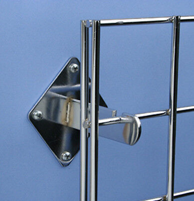 Gridwall Wall Mount Bracket - Grid Panel Mounting Brackets - Chrome - 8 Pieces