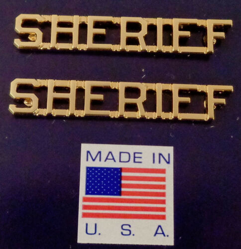"""SHERIFF Gold 1/4"""" Lettering/Letters Pair Uniform Collar Pins Pair MADE IN USA!"""