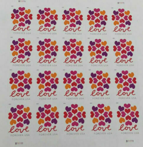 100 (20*5) USPS Forever Stamps Love Heart Blossoms
