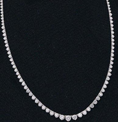 8.30 ct Diamond Riviera Graduated 14k White Gold Tennis Necklace F-G VS/SI1 GIA