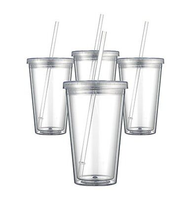 SET of 4 Clear Acrylic Tumbler with Lid and Straw Double Wall w/ Free 2 Day ship](Clear Tumblers With Lid And Straw)