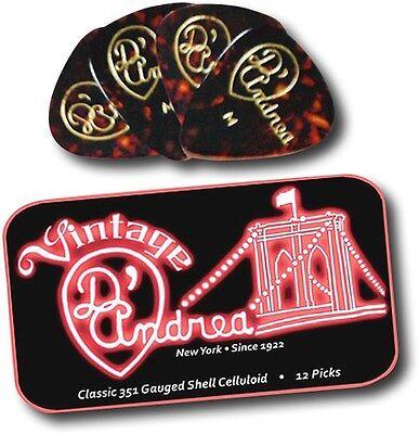 D'ANDREA 351 VINTAGE SHELL CELLULOID Guitar Picks .96 HEAVY 12 picks in Tin Box