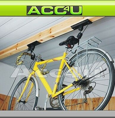 Bicycle Bike Cycle Roof Ceiling Pulley Hoist Hook Hanger Storage Lift System Set