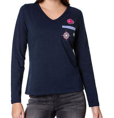 Navy Langarm Denim-shirt (Shirt Fiora Blue