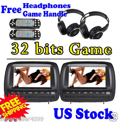 "2x Car Pillow Headrest 9""LCD Monitors DVD Player Black Game Video FM+IR Headsets on Rummage"