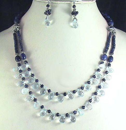 set beads crystal products nado bronze necklace briolette blue elegant and bluebronze