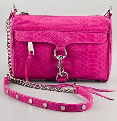 NWT Rebecca Minkoff Python Embossed Mini MAC Leather Crossbody Bag Fuchsia PINK Python Mini