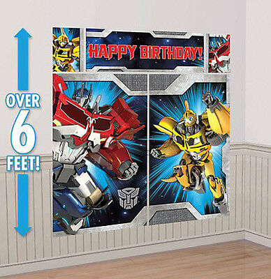 TRANSFORMERS Scene Setter HAPPY BIRTHDAY party wall decoration kit  over  6'](Transformers Scene)