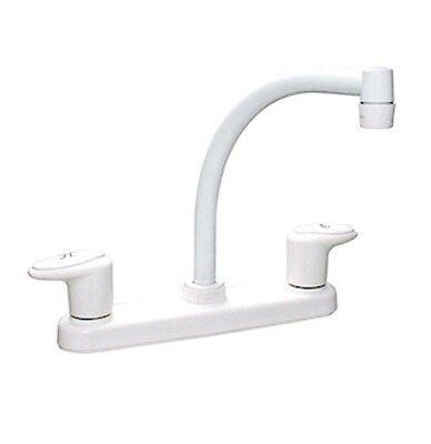 "RV Kitchen Sink Faucet Motorhome Kitchen Faucet Trailer Hi-Arc Spout (8"" White)"