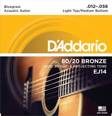 D'Addario 80/20 Bronze Acoustic Guitar Strings Light Top/Medium Bottom/Bluegrass