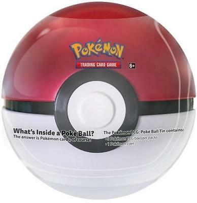 Pokemon TCG Poke Ball 2018 2019 Pokeball Tin red/white 3 packs, coin box card