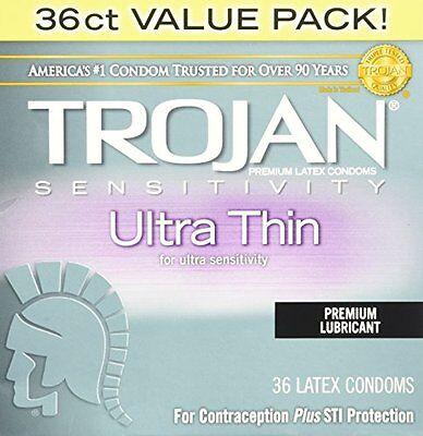 Geschmiert 36 Kondome (Trojan Empfindlichkeit Ultradünn Premium Geschmiert Latex Kondoms 36 Ct)